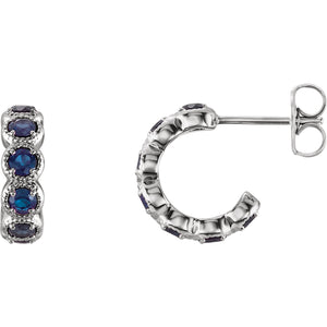 14K White Gold Chatham® Created Blue Sapphire Hoop Earrings