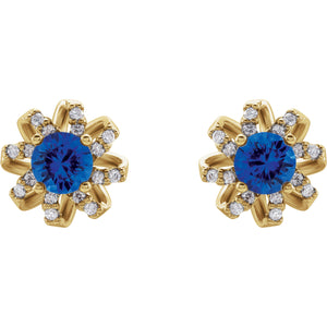 14K Yellow Gold Blue Sapphire & 1/8 CTW Diamond Halo-Style Earrings - r-l-jewelry - Earrings