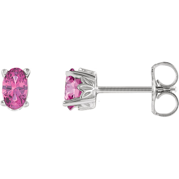 14K White Gold Pink Tourmaline Earrings