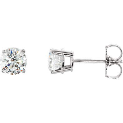 Sterling Silver 7 mm Round Cubic Zirconia Earrings