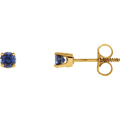 14K Yellow Gold Imitation Blue Sapphire Earrings