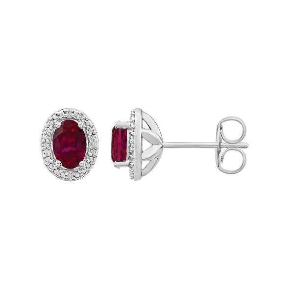 Sterling Silver Created Ruby & .025 CTW Diamond Earrings