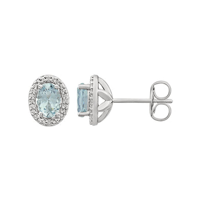 Sterling Silver Aquamarine & .025 CTW Diamond Earrings