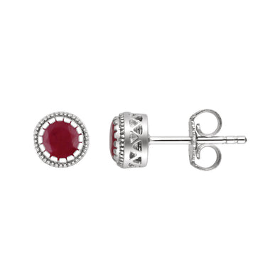 "14K White Gold Ruby ""July"" Birthstone Earrings"