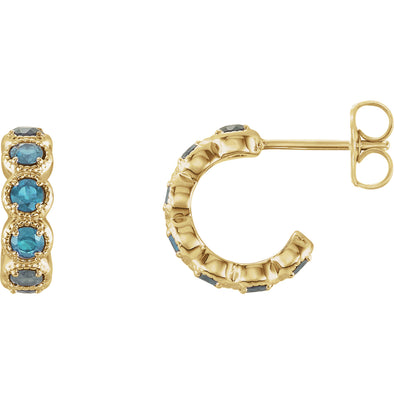 14K Yellow Gold Blue Zircon Hoop Earrings