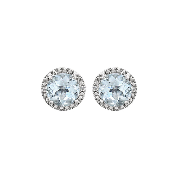 Sterling Silver Aquamarine & .01 CTW Diamond Earrings
