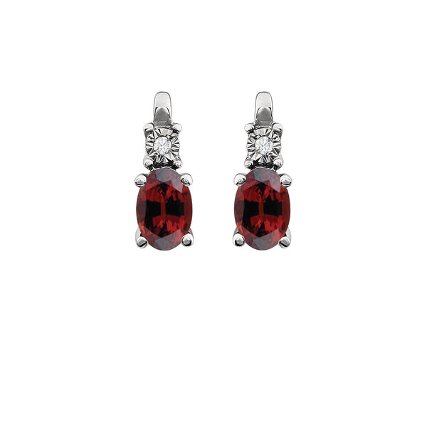 14K White Gold Mozambique Garnet & .02 CTW Diamond Earrings