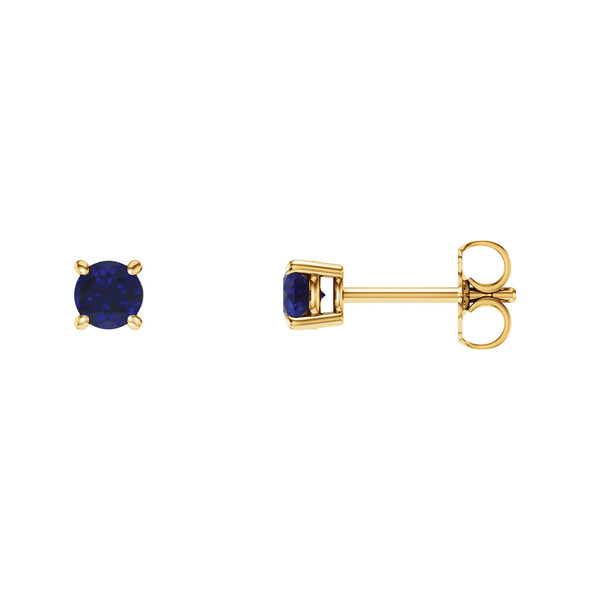 14K Yellow Gold 4 mm Round Chatham® Created Blue Sapphire Earrings