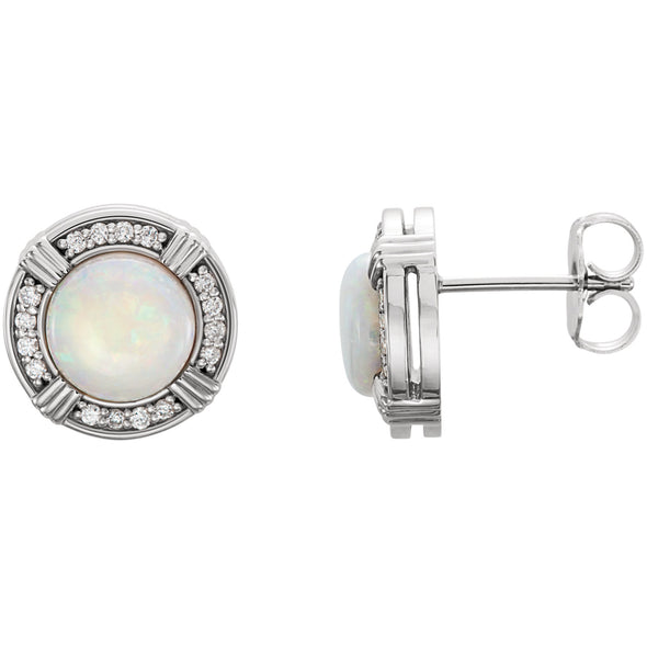Platinum Opal & 1/6 CTW Diamond Earrings