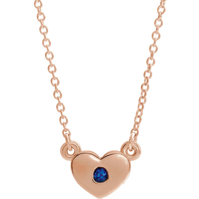 "14K Rose Gold Chatham® Created Blue Sapphire Heart 16"" Necklace"