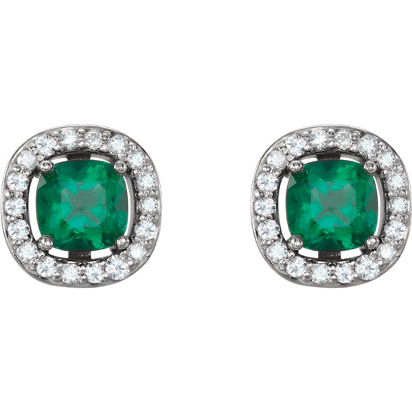 14K White Gold Chatham® Created Emerald & .08 CTW Diamond Earrings