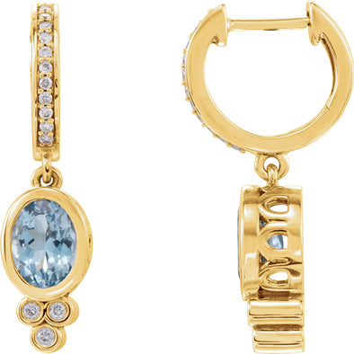 14K Yellow Gold Aquamarine & 1/6 CTW Diamond Hoop  Earrings