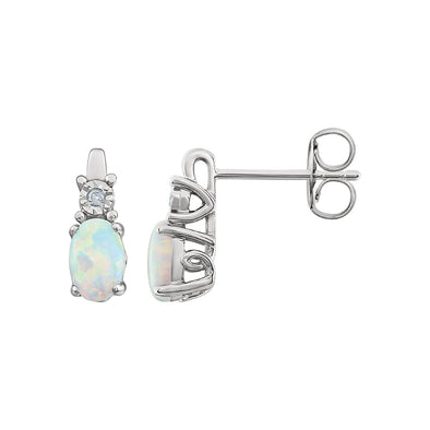 14K White Gold Created Opal & .02 CTW Diamond Earrings
