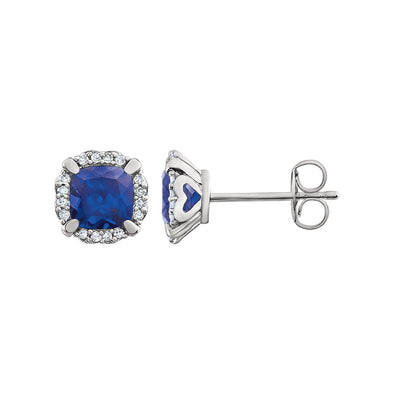 14K White Gold Created Blue Sapphire & 1/10 CTW Diamond Earrings