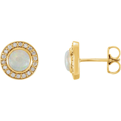 14K Yellow Gold 6 mm Opal & 1/5 CTW Diamond Halo-Style Earrings