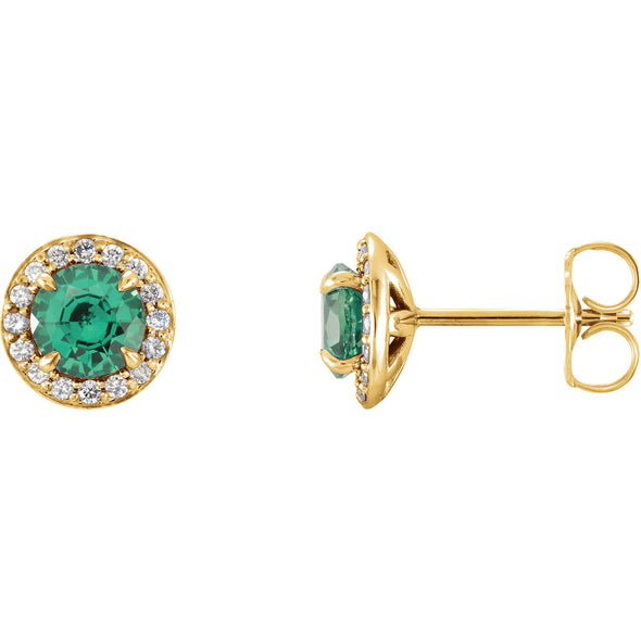14K Yellow Gold 5 mm Round Chatham® Created Emerald & 1/6 CTW Diamond Earrings
