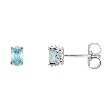 14K White Gold Blue Zircon Earrings