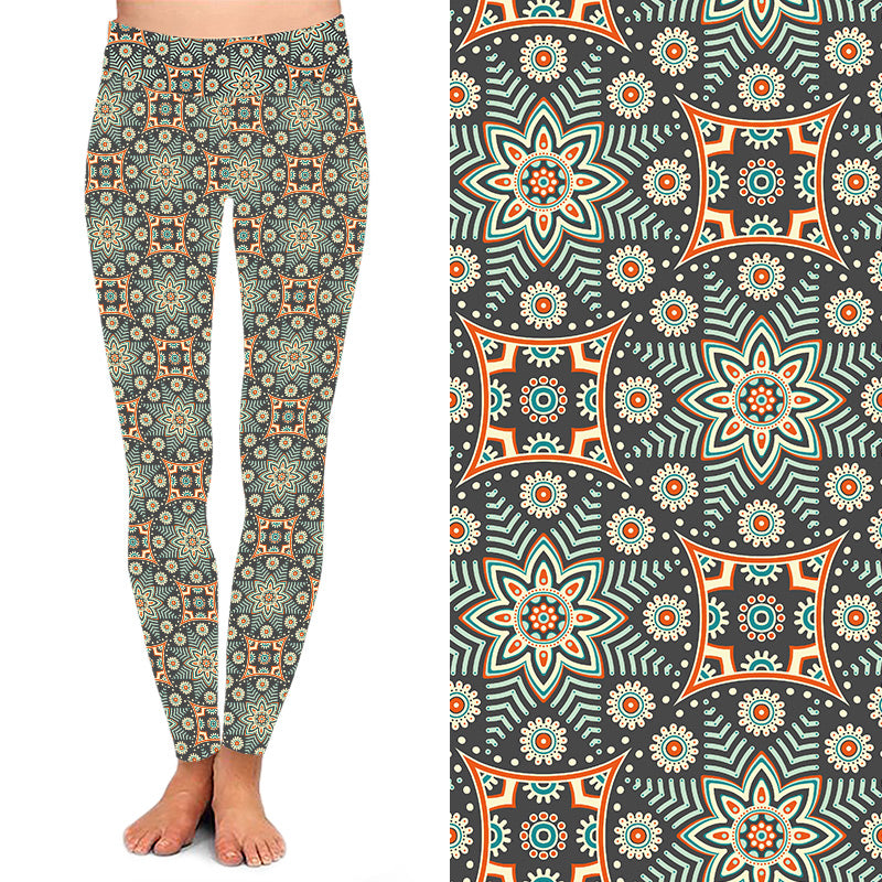 Seaglass Green Mandala Leggings