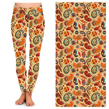 Load image into Gallery viewer, Orange Multi Paisley Leggings