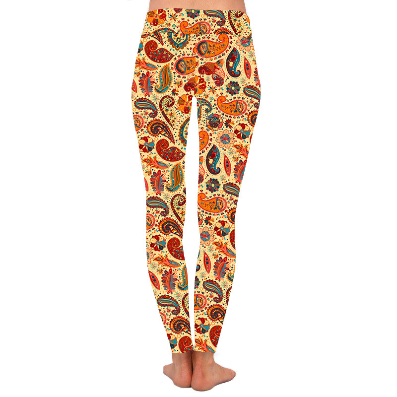 Orange Multi Paisley Leggings