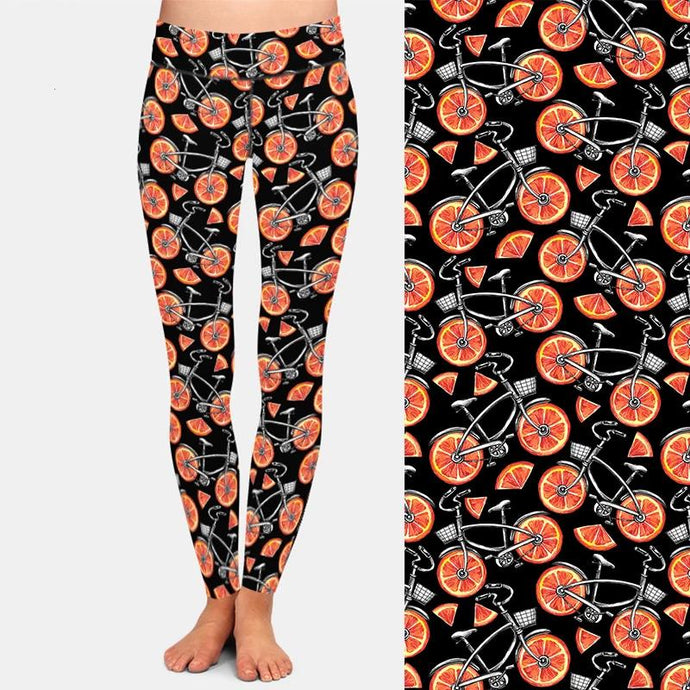 Bicycles with Orange Wheels Leggings
