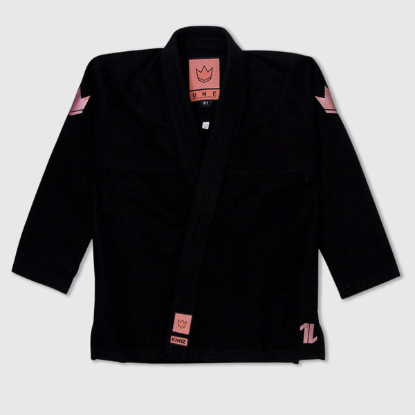Kingz The ONE Women's Jiu Jitsu Gi - Black/Rose Gold (Free white belt)
