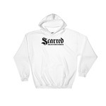 Scarred Skateboards Unisex Hoodie, White W/ Black