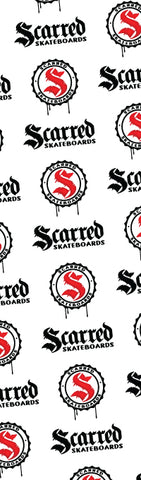 Scarred Skateboards Grip Tape, Logos on Clear Tape
