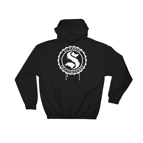 Scarred Skateboards Unisex Black Hoodie W/ White Logos