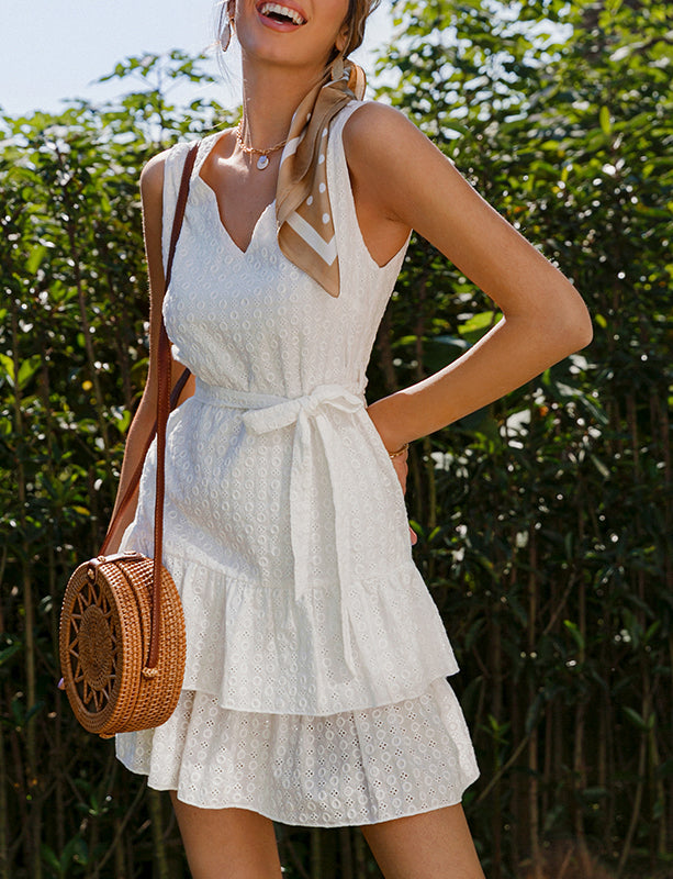 Sorrento Embroidered Sleeveless Mini Dress White