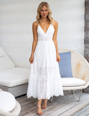 Amy White Maxi Dress - Pink & Flare
