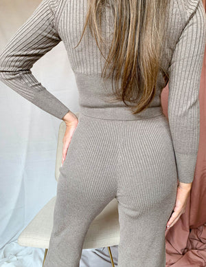Cozy Days Two Piece Lounge Set Taupe