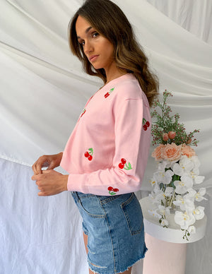 She's Creative Cherry Cardigan Pink