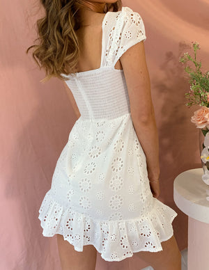 Positano Life Embroidered Mini Dress White