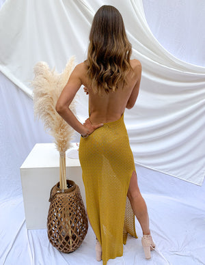 Sunshine And Fun Backless Cover Up Mustard