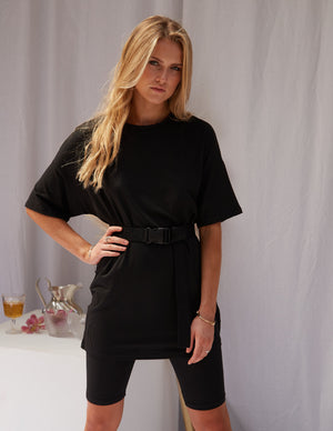 Naomi Biker Shorts & Tee Set Black