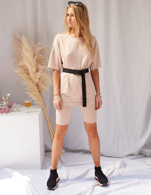 Latte Biker Shorts & Tee Set Beige