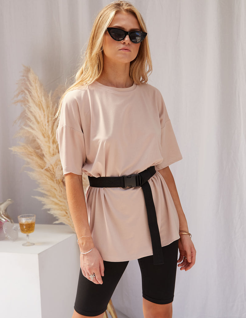 Kate Biker Black Shorts & Beige Tee Set