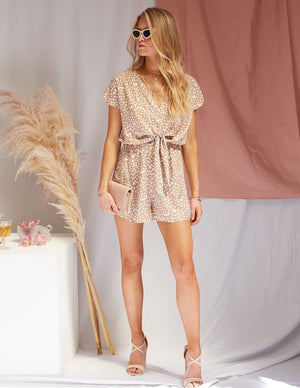 No Cares Printed Short Romper Brown