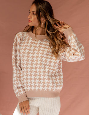 Something On Your Mind Houndstooth Sweater Beige