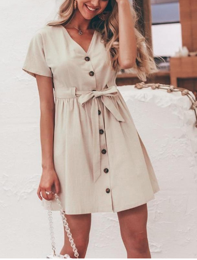 Claire Beige Summer Dress