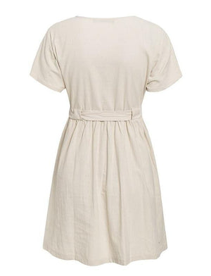 Claire Beige Summer Dress - Pink & Flare