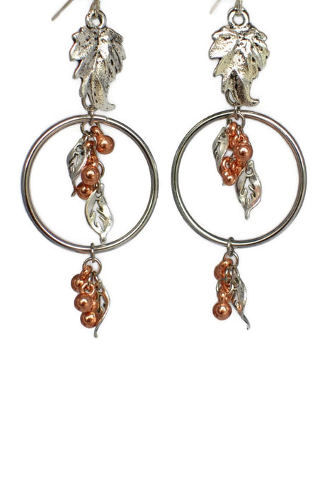 Silver Copper Leaves Hoop Dangle Earrings