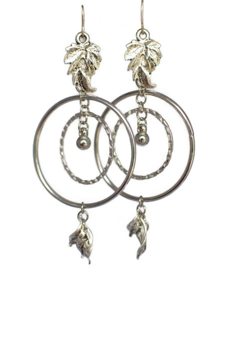 Hoops Leaves Earrings Dangle Silver Fall Season Jewelry