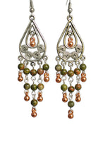 Load image into Gallery viewer, Chandelier Earrings Antiqued Silver Copper Teardrop Clip Ons No Piercing Unakite Beads