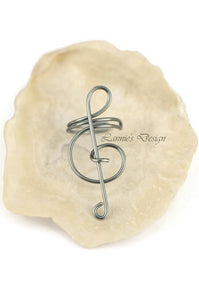 Gray Treble Clef Ear Cuff No Piercing Wire Conch Cartilage Earrings