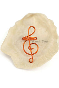 Orange Treble Clef Ear Cuff No Piercing Wire Conch Cartilage Earrings