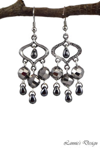 Chandelier Earrings Marquise Gun Metal Clip Ons No Piercing Twisted Round Beads