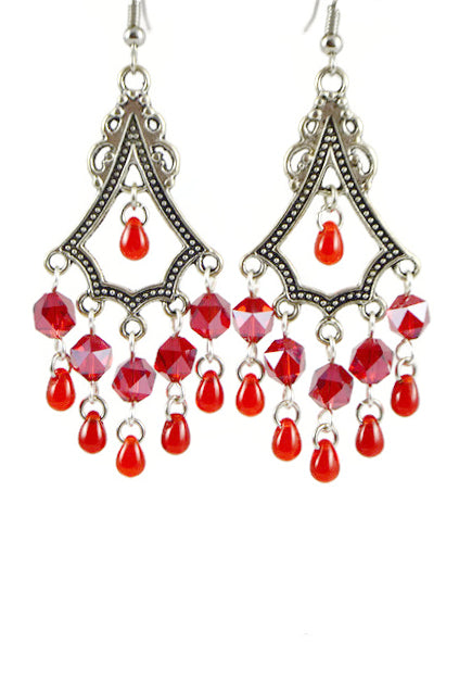 Red Triangle Antiqued Brass Chandelier Earrings Hexagonal Beads