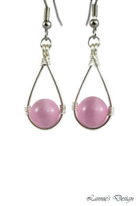 Pink Hanging Bead Teardrop Dangling Earrings